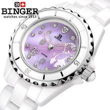 Switzerland Binger Space ceramic wristwatches fashion quartz Womens watches Round rhinestone clock Water Resistant BG 0412 2