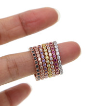100% 925 sterling silber 7 farbe stapel stapelbar mode mädchen frauen design schmuck birthstone rose gold silber mix farbe cz ring(China)