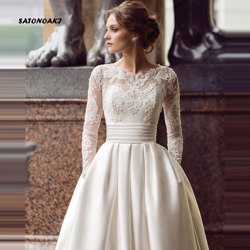 SATONOAKI Modest Long Sleeve Wedding Dresses Turkey Scoop Satin Appliqued A-line Bridal Gown With Pockets Vestidos De Novia