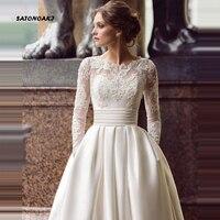 SATONOAKI Modest Long Sleeve Wedding Dresses Turkey Scoop Satin Appliqued A line Bridal Gown with Pockets Vestidos de Novia