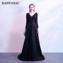 BANVASAC Deep V Neck 2018 Appliques A Line Long Evening Dresses Lace Illusion Sleeve Backless Party Prom Gowns