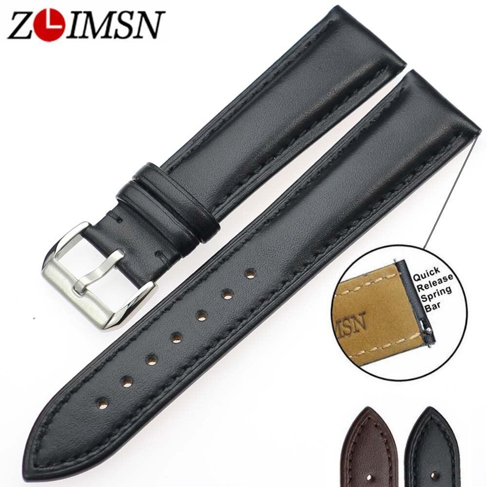 ZLIMSN Neue uhr armband gürtel schwarz uhrenarmbänder lederarmband uhr band 18mm 20mm 22mm 24mm uhr zubehör armband