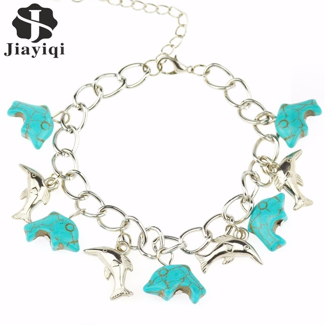 2017 Green Stone Dolphin Designs Bracelet Silver Chain Link