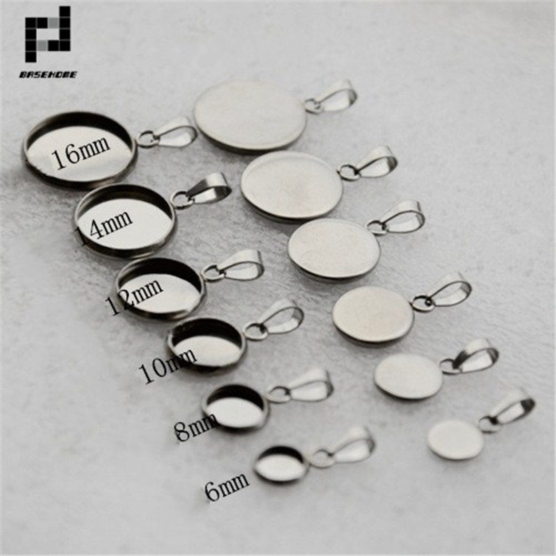 10pcs Stainless Steel Pendant Settings Clasps Cabochon Base Bezel Trays Blank Fit 6/8/10/12/14/16/18/20mm Cabochons Cameo DIY