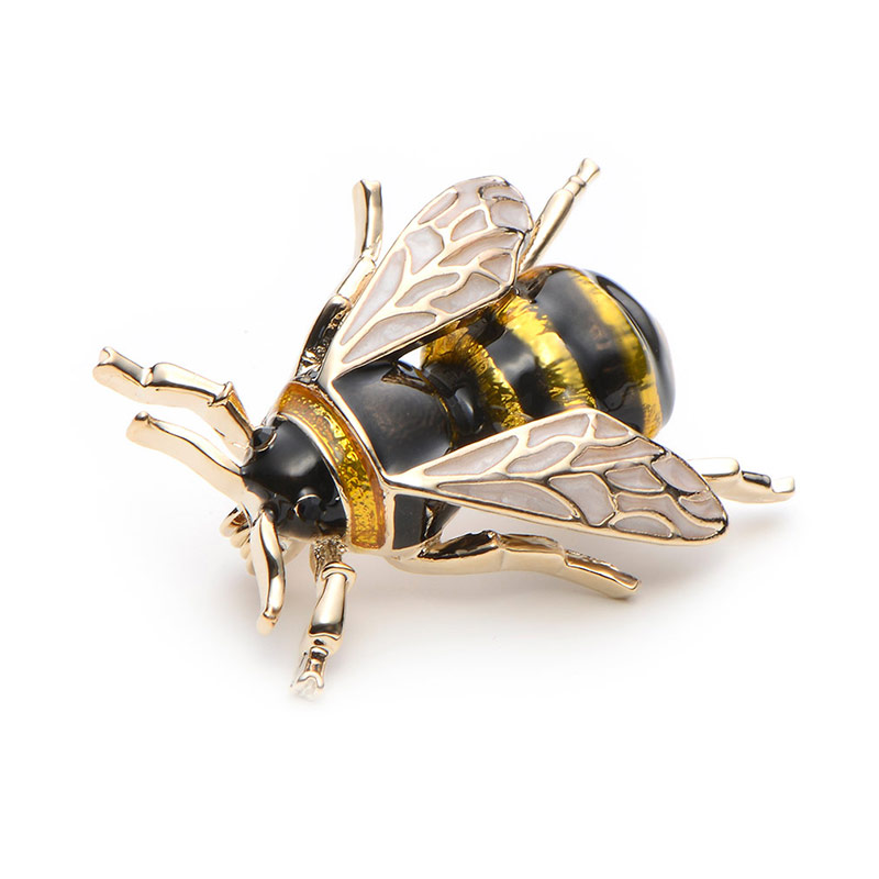 Wuli&Baby Enamel Bumblebee Brooches Men Women's Alloy Yellow Bee Insect Brooch Christmas Gift Broche Banquet Pins 3