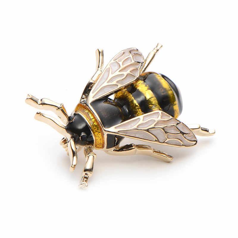 Wuli & Esmalte Abelha Broches Liga das Mulheres Dos Homens Do Bebê Amarelo Bee Insect Broche de Presente De Natal Broche Banquete Pinos