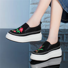 NAYIDUYUN    Women Black Genuine Leather Embroider High Heel Punk Party Pumps Wedges Platform Oxfords Shoes Casual Sneaker Shoes