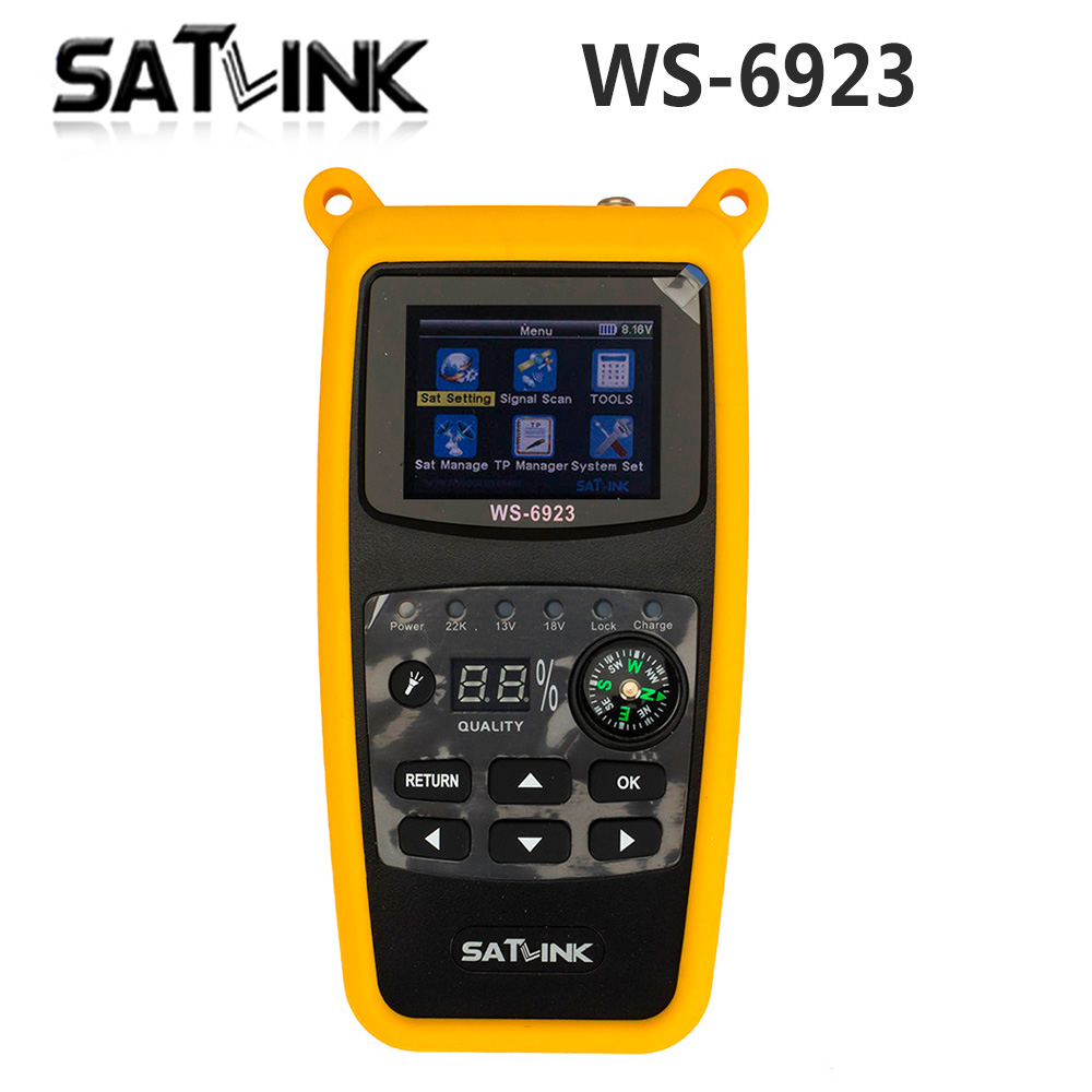 Original Satlink WS-6923 with 2.1 inch LCD DVB-S FTA C&KU Band Digital Satellite finder satellite meter ws 6923 free shipping free shipping fmuser futv4031a quad fta ird satellite receiver 4 dvb s rf input asi output av out with demodulating