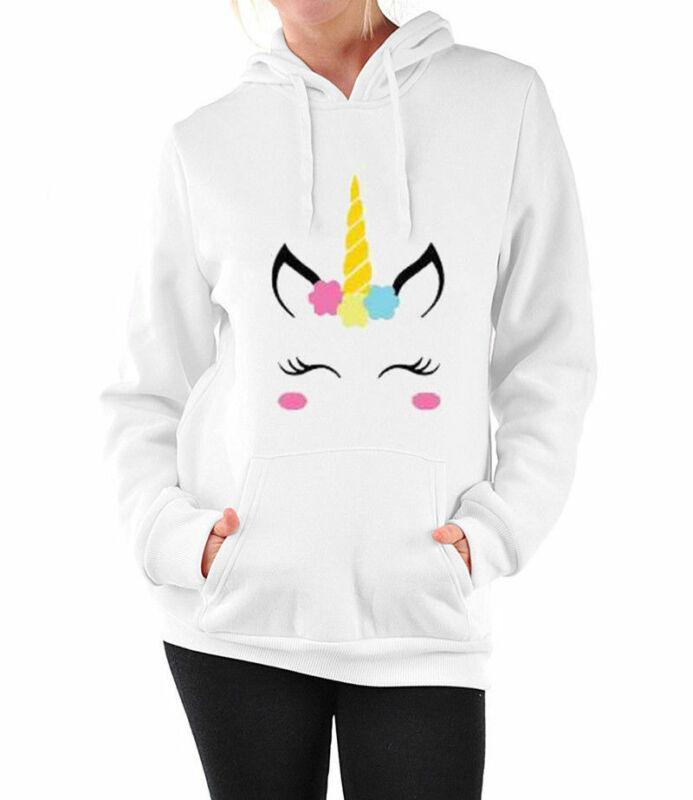 New Women Long Sleeve Unicorn Horse Pattern Hoodie Sweatshirt Warm Casual Hooded Tops Jumper Pullover