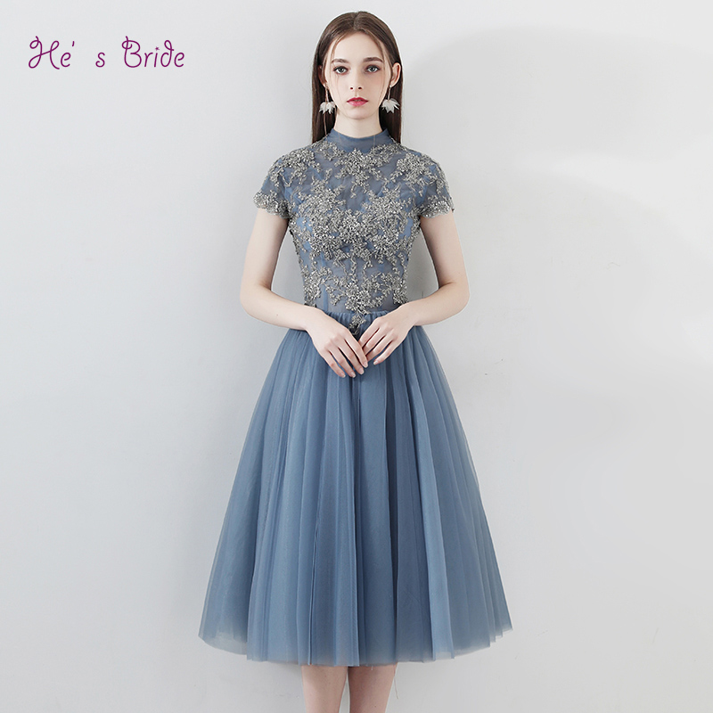 He s Bride Blue New Elegant Cocktail Dress High Neck Short Sleeves Appliques Ball Gown Backless