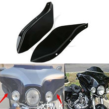 Motorcycle Black/Clear Side Wing Windshield Air Deflector For Harley Touring FLHR FLHT FLHX 96-13