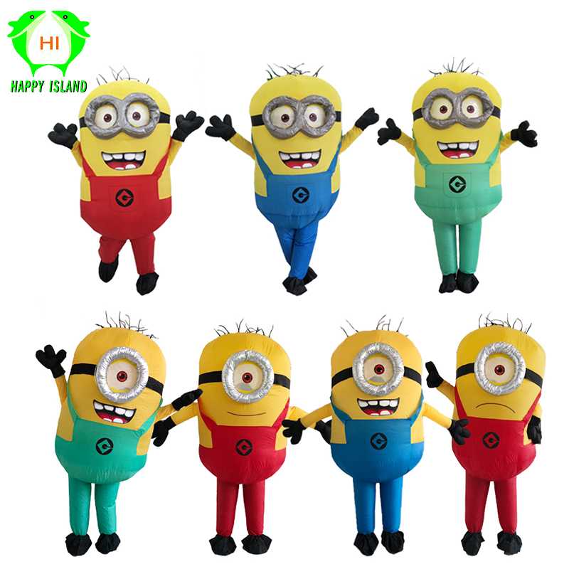 Halloween Minion Inflatable Costumes Adult Party Cosplay Minion Mascot Costume Blue Green Red Minion Inflatable Child