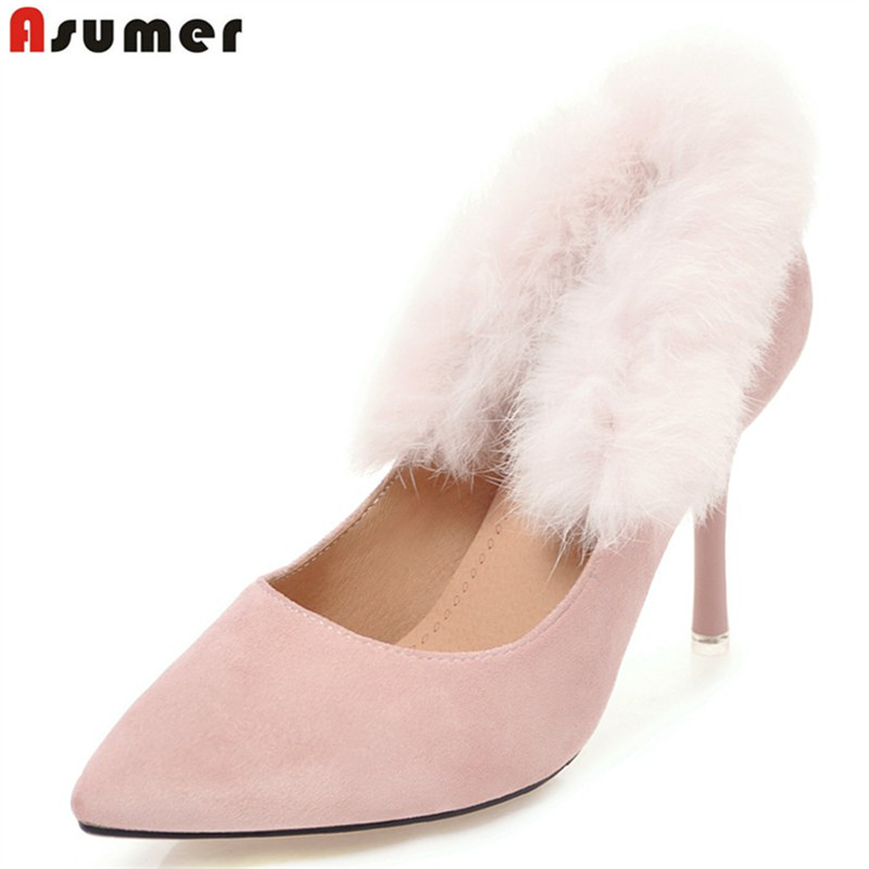 ASUMER Plus size 34-46 New 2018 fashion sexy high heels pointed toe 9cm heel spring summer pumps women shoes party wedding shoes wholesale lttl new spring summer high heels shoes stiletto heel flock pointed toe sandals fashion ankle straps women party shoes