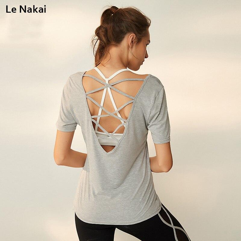 Le Nakai Backless Yoga Shirt Crisscross Back Quick Dry