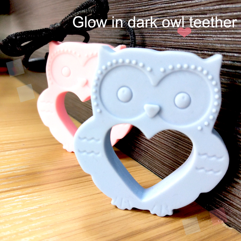 Glow In Drak Owl Shape Silicone Teether For Baby Chewing Food Grade Silicone Baby Teething Pendant For Nursing Necklace Mommy