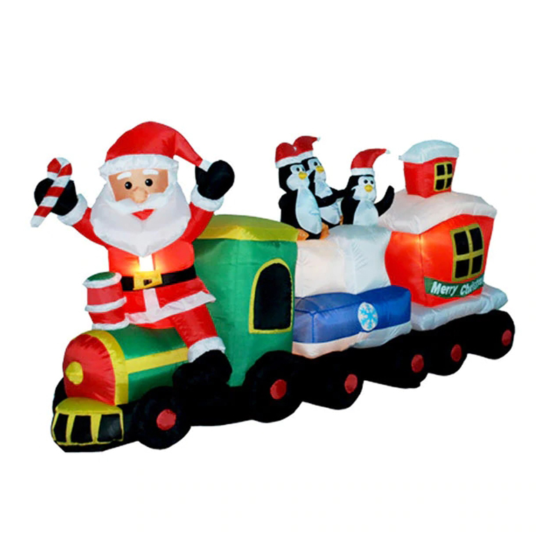 210cm Giant Santa Claus Train With Penguins LED Lighted Inflatable Toys Christmas Halloween Party Props Garden Yard Decoration