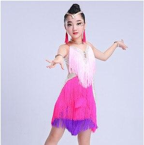 Image 5 - Детская Юбка для латиноамериканских танцев, юбка с бахромой для соревнований по Латиноамериканскому танцу, 2018