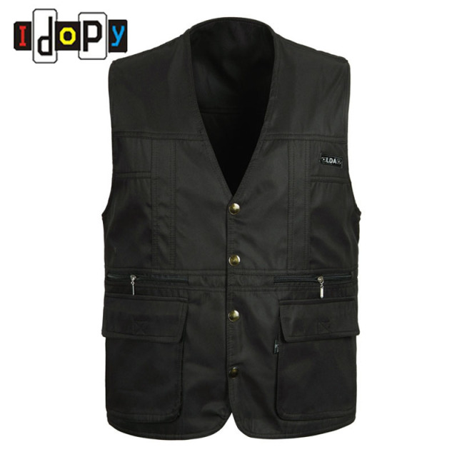 100% Cotton Summer mens Suit Sleeveless Working  For Men Outdoors Casual Multipocket Waistcoat Men Vest Photography Jacket