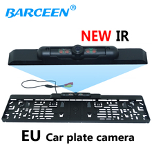 Rearview mirror + CCD HD car reverse rearview camera European License Plate parking rear view For Eur