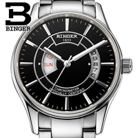 Genuine Luxury Switzerland watches BINGER Brand Mens steel automatic mechanical self wind sapphire table waterproof navigator