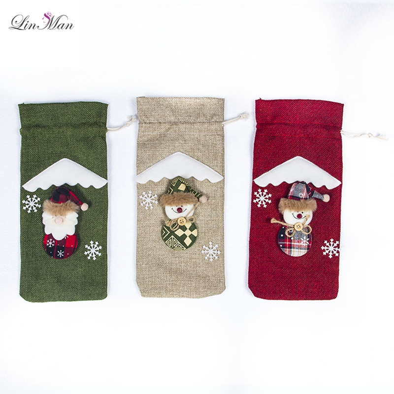10pcs/lot Christmas Decorations for Home Santa Claus Wine Bottle Cover Snowman Stocking Gift home party festvial Decor New Year