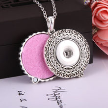 New Rhinestone Snap Jewelry Perfume Aromatherapy Lockets Aroma Diffuser Pendant Necklace Fit 20mm 18mm Snap Button Jewelry(China)