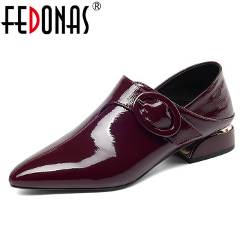 FEDONAS Women Solid Pointed Toe Strange Heels Single Shoes Woman New Spring Summer Patent Leather Casual Pumps Buckle Decoration