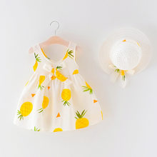 Baby Dress Summer Kid Girl Cartoon Pineapple Print Bowknot Bebek Elbise Casual Sleeveless Princess Dresse Hats 2PCS Clothes New(China)