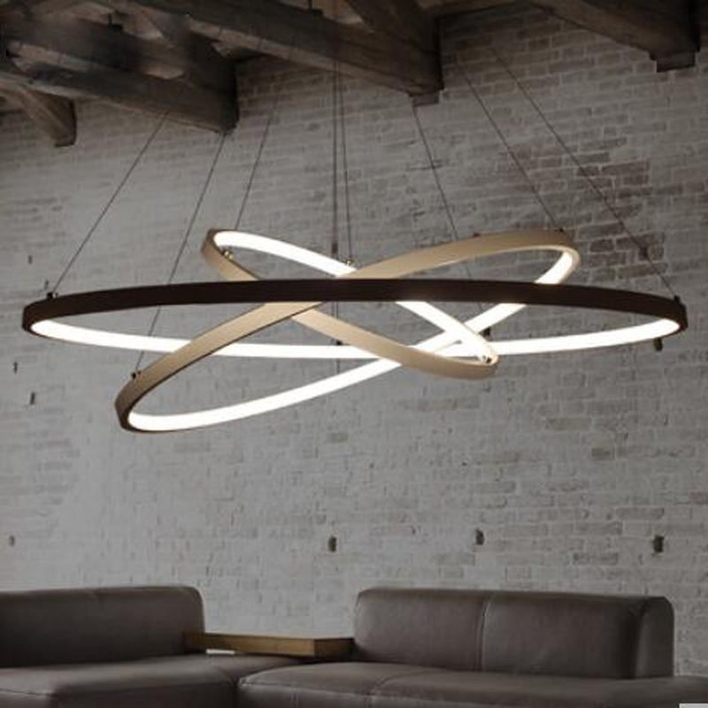 T Simple Chandelier Circular Ring Modern Metal Pendant Livingroom Bedroom Restaurant Lamps Creative LED Chip Lighting DHL Free