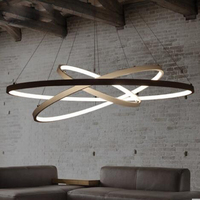 T Simple Circular Ring Modern Metal Pendant Home Livingroom Bedroom Restaurant Lamps Creative LED Chip Lighting