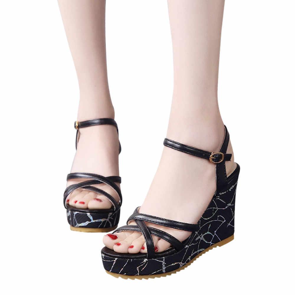 YOUYEDIAN pumps women shoes platform Fish Mouth Non-slip Platform High Heels  Sandals Buckle Slope 712d91f366a2