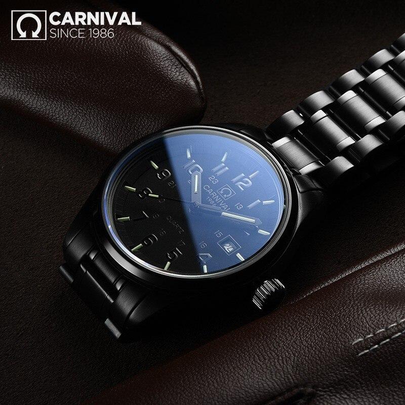 Carnival New T25 Tritium Luminous Quartz Watch Men Full Steel Black Watches Mens Clock Army Man Sport Wristwatch erkek kol saati - 3