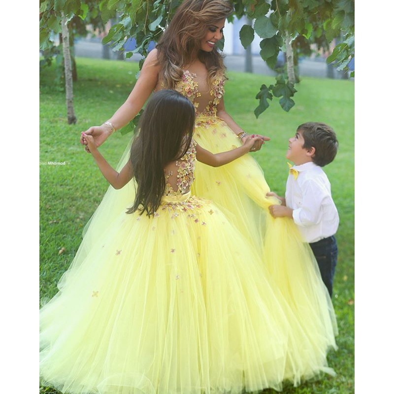 Pretty Ball Gown See Though Tops Yellow Long   Girls   Appliques   Flower     Girl     Dresses   for Wedding Party Pageant Custom Made