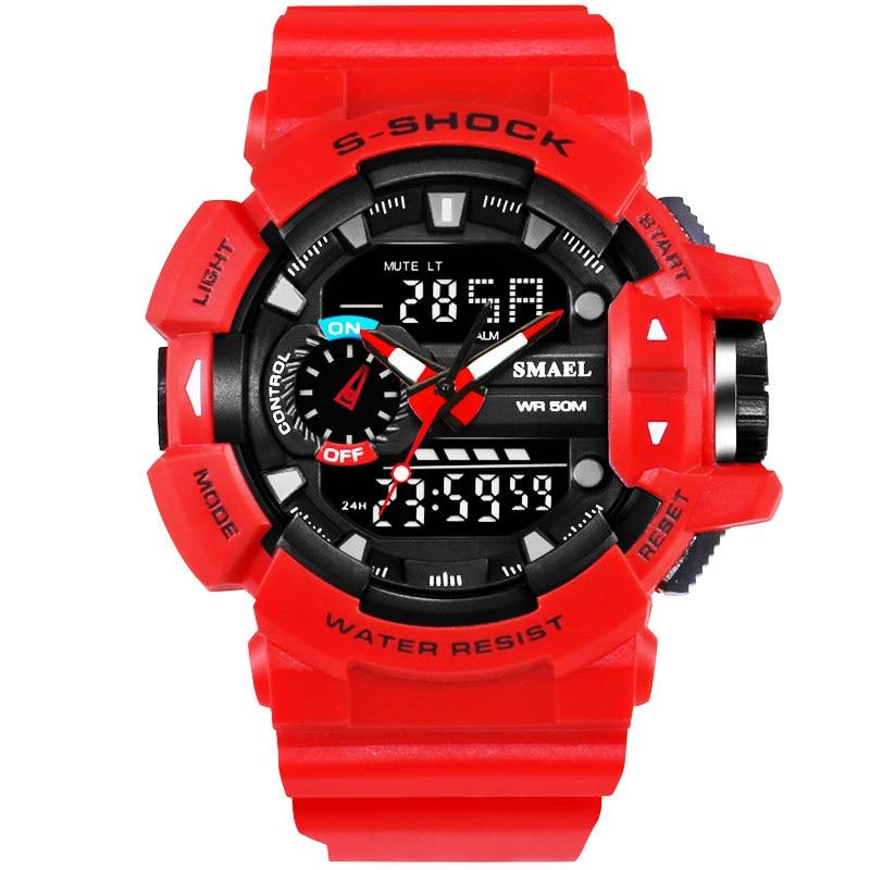10 PCS SMAEL Brand Big Dial Sport Watches Dual Time LED Digital Watch Quartz Analog-Digital Mens Wristwatches Military