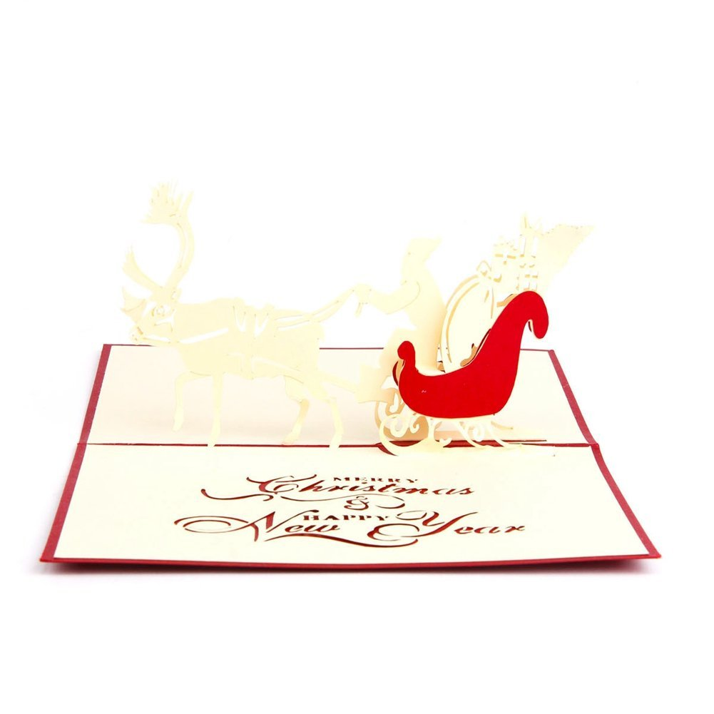 Perfect-Handmade Blank 3D Pop Up Greeting Card PostCards Christmas Deer car with Matching Envelope Laser-Cut Surprisingly Perf