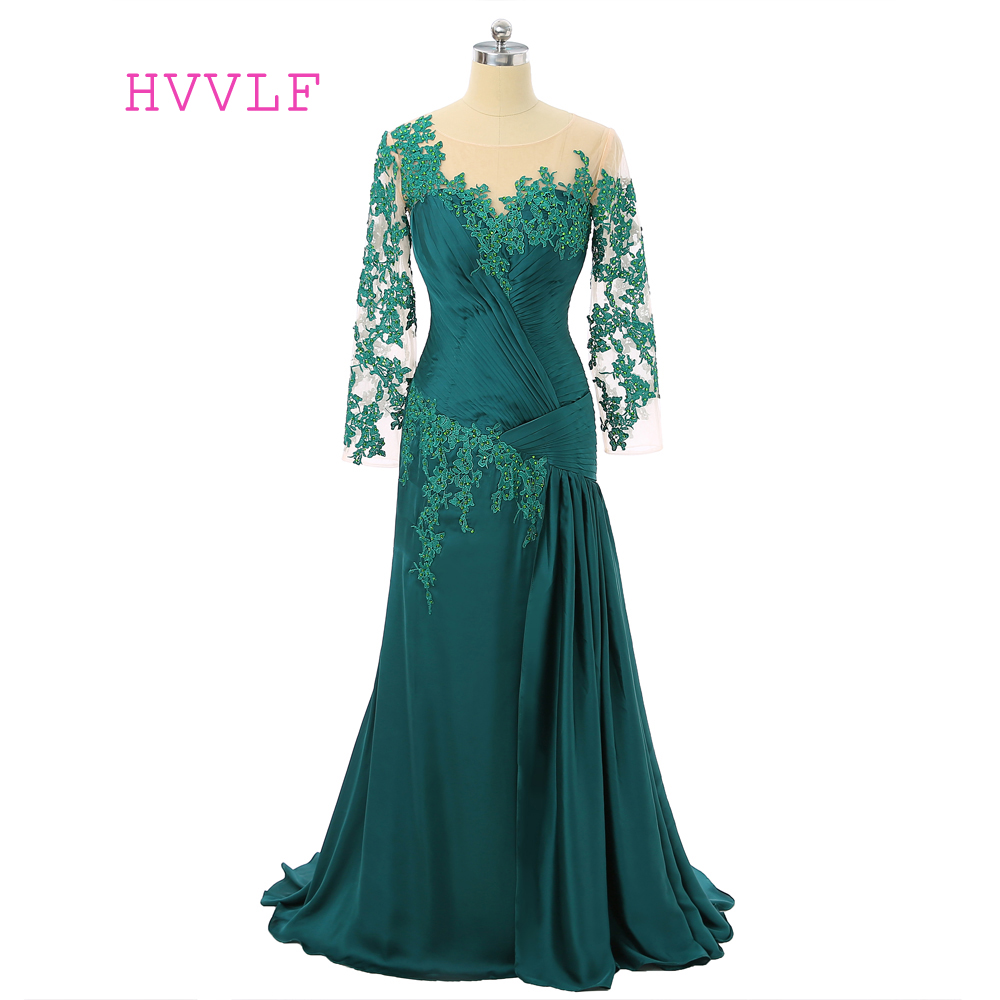 Green Mother Of The Bride Dresses Mermaid Long Sleeves Chiffon Beaded Lace Mother Dresses Long Evening Dresses For Weddings