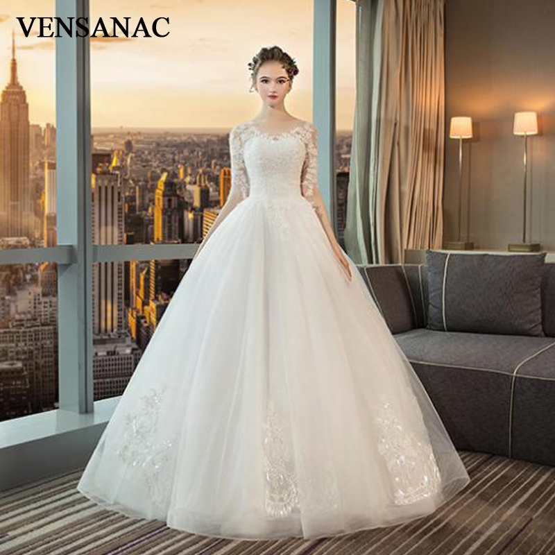 VENSANAC Illusion O Neck Sequined Ball Gown Wedding Dresses Lace Appliques Half Sleeve Backless Bridal Gowns
