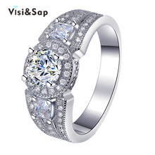 Eleple White Gold color Wedding Rings For Women Luxury finger bague fashion Jewelry ring AAA Cubic zirconia Dropshipper VSR174 hibride luxury white gold color dark blue aaa cubic zirconia fashion women jewelry sets n 58