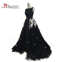 Longue Robe De Soirée 2017 Vestidos de Noche Árabe Con Desmontable Falda Larga de Encaje Negro Apliques de Noche Formal de Baile Vestido MN117