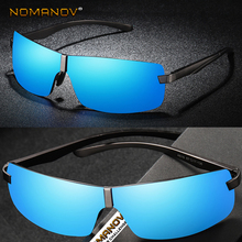 Rimless Men Women Polarized Sunglasses Sun Glasses Al-mg Alloy Sports Cool Space Style Black and Mirror Blue Lenses