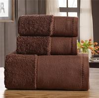 3 Pieces Cotton Towel Set Solid Color Luxury Bath Towel Face Towel Hand Towel For