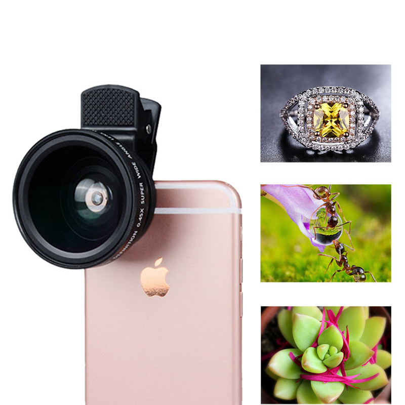Universal Clip-on HD 37MM 0.45x Super Wide Angle 12.5x Macro Camera <font><b>Lens</b></font> for Samsung Galaxy <font><b>S5</b></font> S4 S3 mini J3 J5 J7 J700F J7008 image