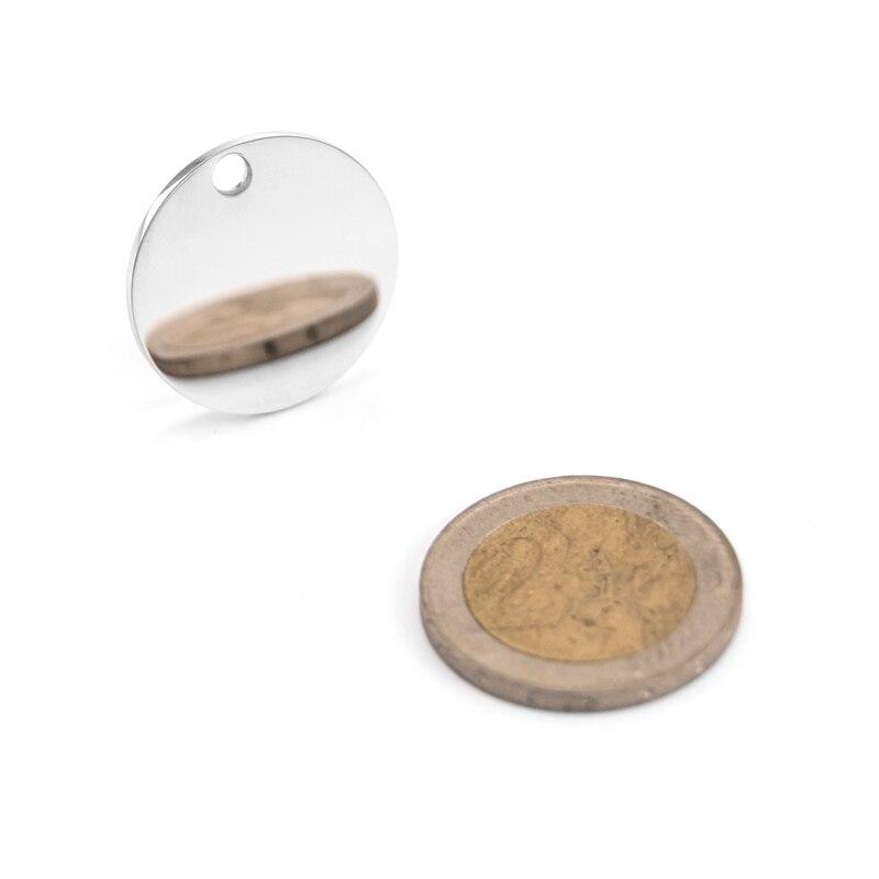 100% Нержавеющаясталь ожерелье с круглой подвеской Цепочки и ожерелья пустой диск Круглый амулет, внутреннее отверстие 15/20/25/30/35 мм с обеих с