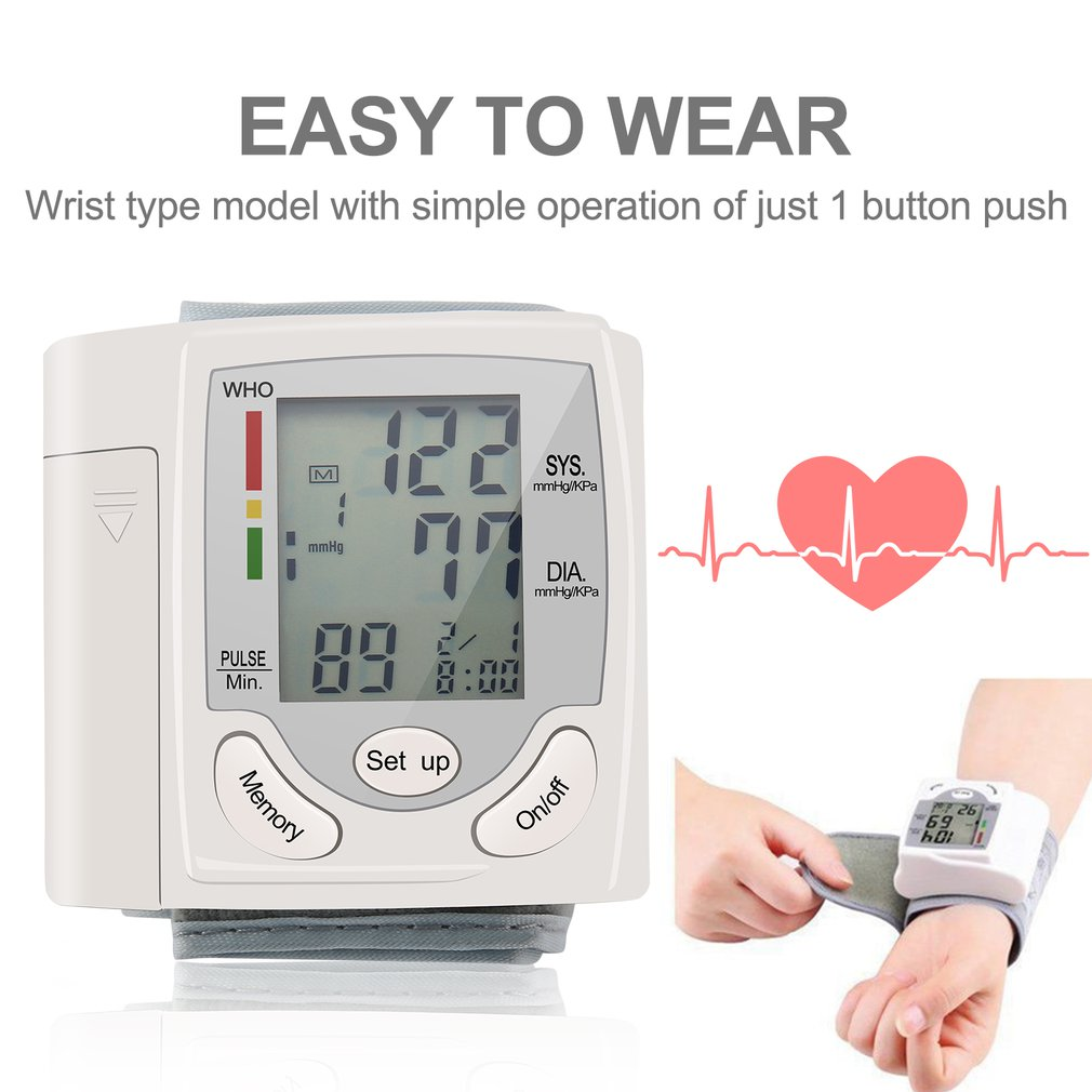 Automatic Digital LCD Display Wrist Blood Pressure Monitor Heart Beat Rate Pulse Meter Measure White Convenient Carry 2019