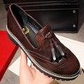2016 nova outono Plus Size 35-43 borlas Mulheres Sapatos boca Rasa preto, tamanho Grande marrom sapatos Oxford Sapatos casuais