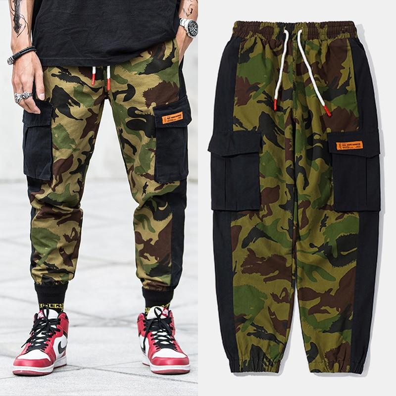 Hosen Cargo-hosen Kenntnisreich Mode Camouflage Military Hosen Gespleißt Designer Patch Tasche Cargo Pants Lose Fit Slack Bottom Hip Hop Joggers Hosen Männer