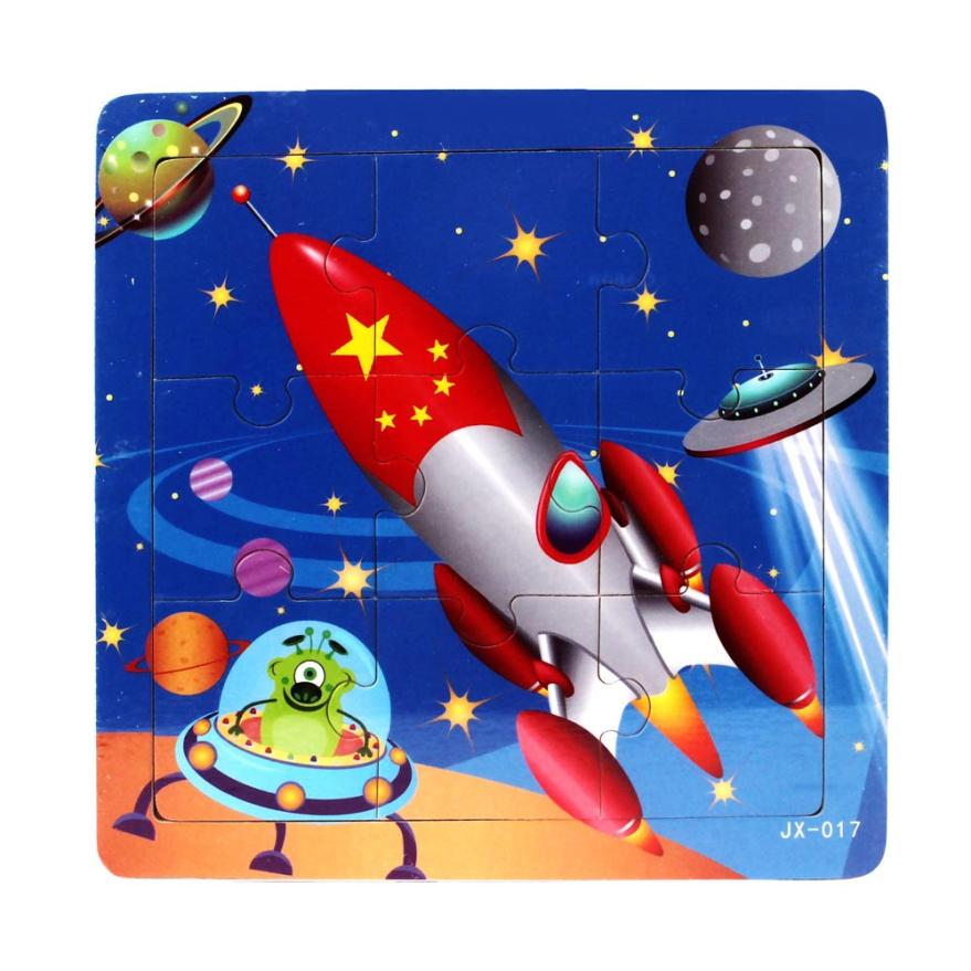MUQGEW Educational Toys Fidget Cartoon spacecraft design Inspired intelligence Jigsaw Kids Toys Juguetes De Madera Z06