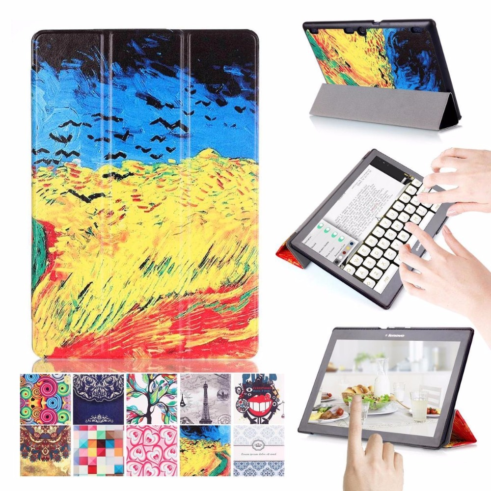 Tab 2 A10-30 Colorful Printed Smart Cover For Lenovo Tab 2 Tab2 A10-70 A10-70F A10-70c A10-30 x30 x30F 10.1 inch tablet Case