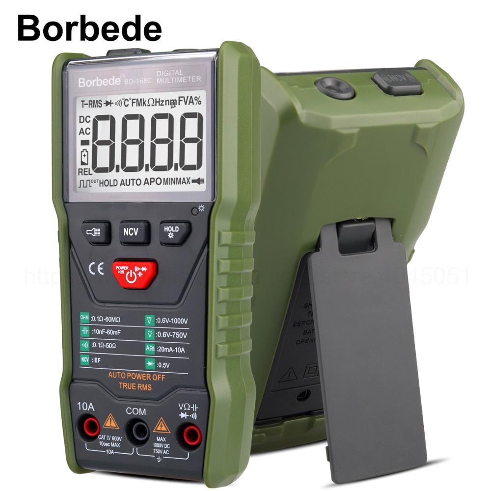 Borbede 168C Auto-scanning True RMS Multímetro Digital AC DC Tensão Corrente Resistência Capacitância Tester 6000 contagem Portátil