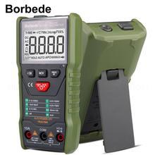 Цифровой мультиметр Borbede 168C, автоматическое сканирование, постоянный ток, переменный ток, тестер сопротивления, 6000 отсчетов, портативный, умный